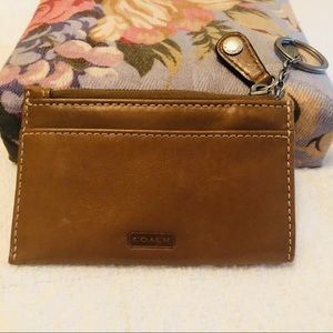 COACH Brown Leather Zippered Coin Purse/Key Chain